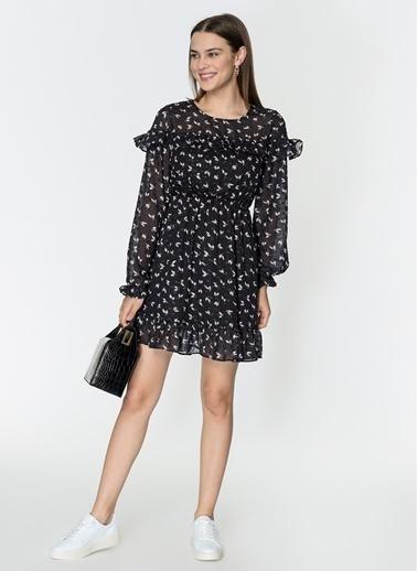 Loves You Robası Volanlı Yaprak Desenli Şifon Crep Elbise Siyah